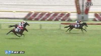東京芝2400m3歳一勝馬クラスで2.24.1wwwww